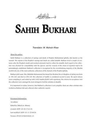 22 sahih bukhari tr khan m m 9 volscomb 1 st ed almany m created 2009 download pdf book