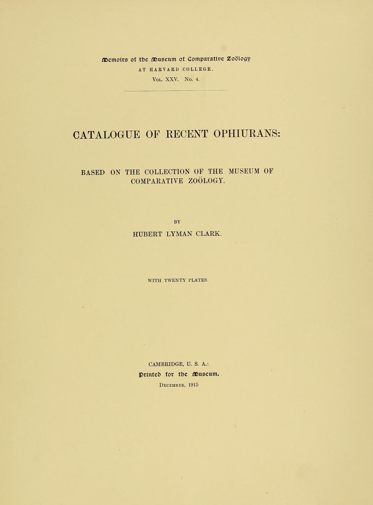 MCZ Memoirs Vol. XXV no. 4