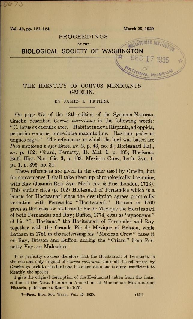 The Identity of Corvus mexicanus Gmelin