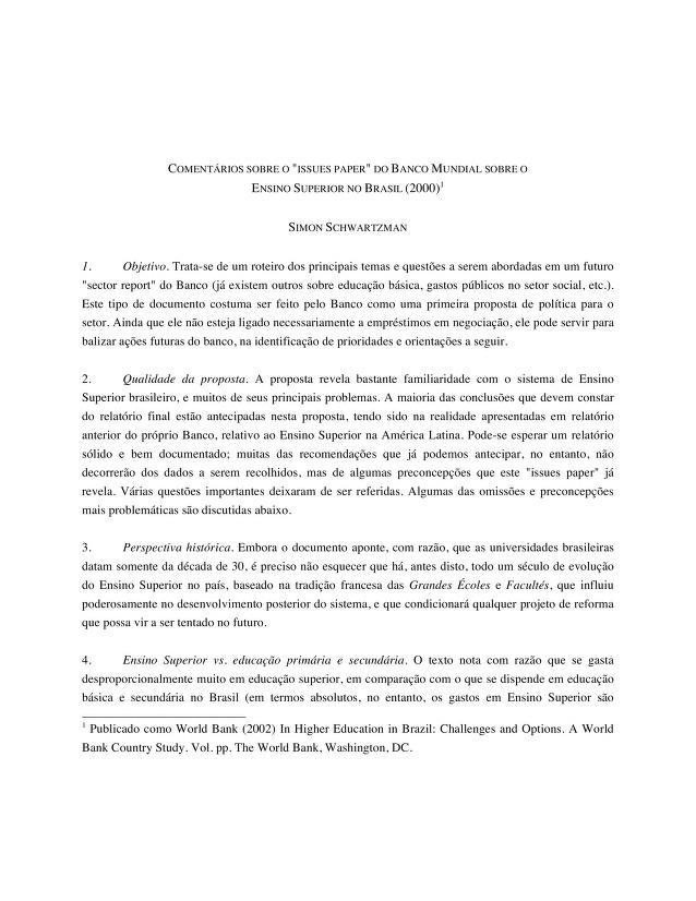 """Simon Schwartzman - Comentários prévios sobre o """"Issue Paper do Banco Mundial sobre o Ensino Superior no Brasil"""