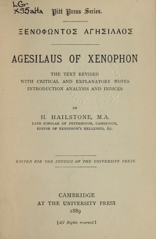 Xenophon - [Xenophntos Agsilaos] Agesilaus of Xenophon