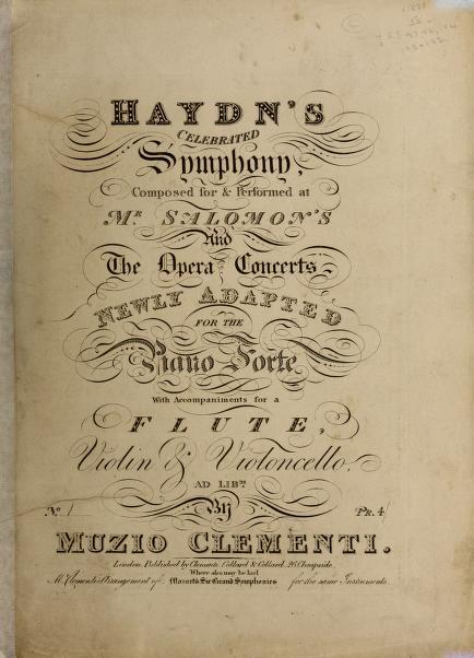 Haydn's celebrated symphony, no. 1 by Franz Joseph Haydn