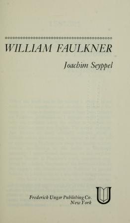 Cover of: William Faulkner   Joachim Seyppel